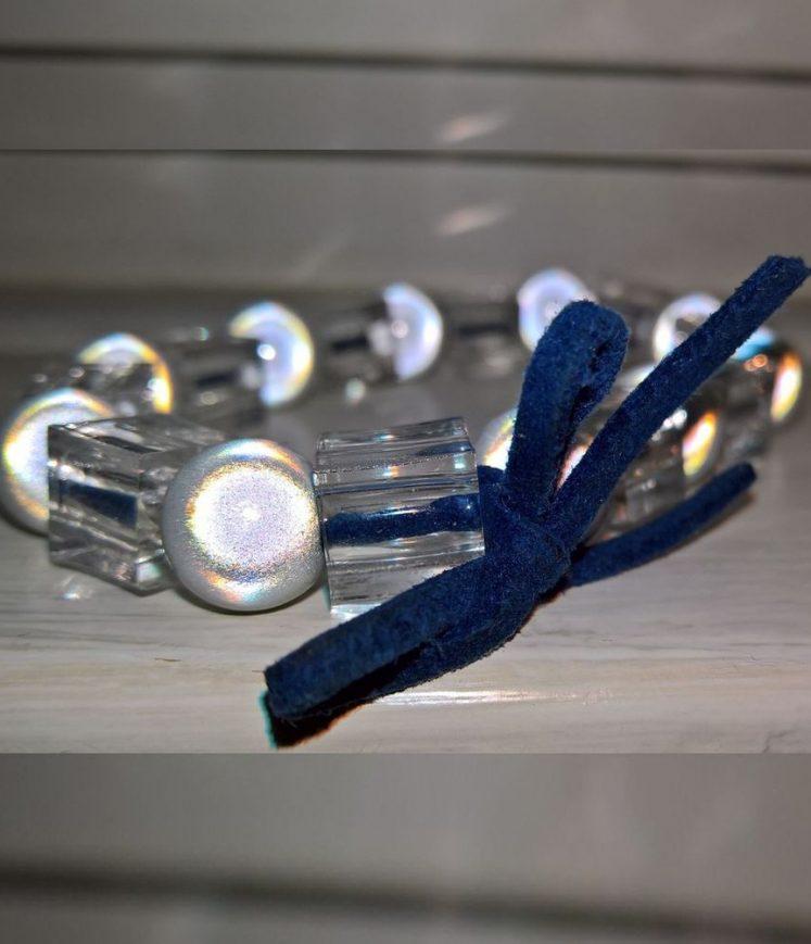 bracelet perles et cuir marine