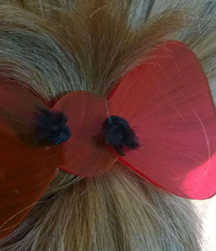 barrette cristal noeud rouge transparent
