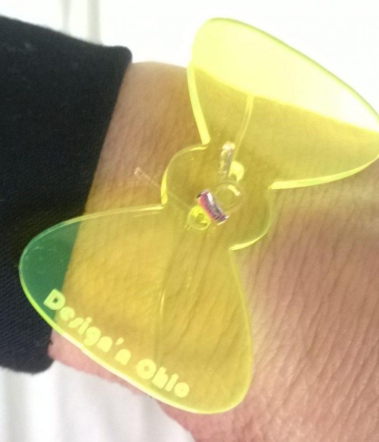 barrette cristal noeud jaune
