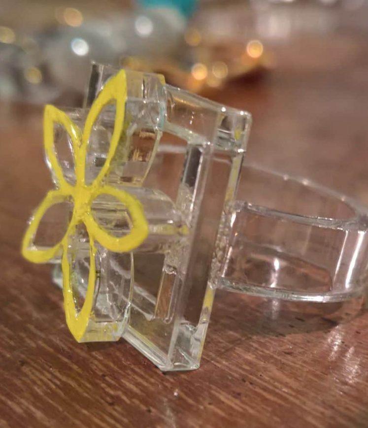 bague fleur jaune